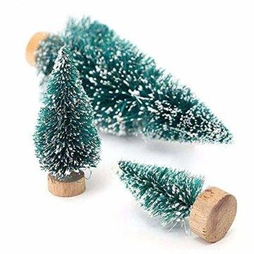 FLOFIA 24 TLG. Miniatur Deko Mini Weihnachtsfiguren Mini Weihnachten Deko Weihnachtsbaum Weihnachtsfiguren Miniatur Garten Deko Mini Tannen-Christbaum Schneemann Elch Pinguin Mini Tischdeko - 4