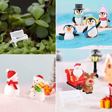 FLOFIA 24 TLG. Miniatur Deko Mini Weihnachtsfiguren Mini Weihnachten Deko Weihnachtsbaum Weihnachtsfiguren Miniatur Garten Deko Mini Tannen-Christbaum Schneemann Elch Pinguin Mini Tischdeko - 5