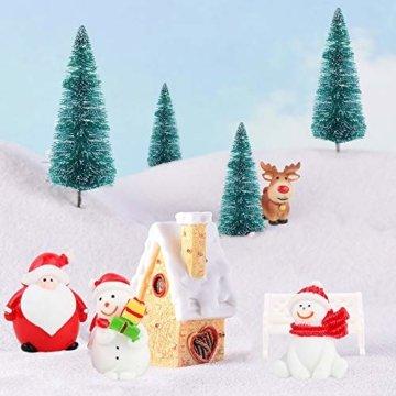 FLOFIA 24 TLG. Miniatur Deko Mini Weihnachtsfiguren Mini Weihnachten Deko Weihnachtsbaum Weihnachtsfiguren Miniatur Garten Deko Mini Tannen-Christbaum Schneemann Elch Pinguin Mini Tischdeko - 6