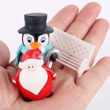 FLOFIA 24 TLG. Miniatur Deko Mini Weihnachtsfiguren Mini Weihnachten Deko Weihnachtsbaum Weihnachtsfiguren Miniatur Garten Deko Mini Tannen-Christbaum Schneemann Elch Pinguin Mini Tischdeko - 7