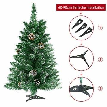 Froadp 90cm Künstlicher PVC Weihnachtsbaum Tannenbaum Kiefernadel Mit Schnee-Effekt(Schnee-Effekt, 90cm) - 4