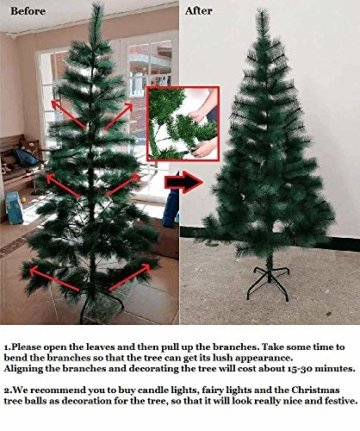 Froadp 90cm Künstlicher PVC Weihnachtsbaum Tannenbaum Kiefernadel Mit Schnee-Effekt(Schnee-Effekt, 90cm) - 6