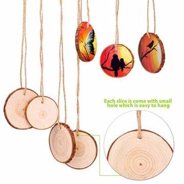 Fuyit Holzscheiben 30 Stücke Holz Log Scheiben 6-7cm mit Loch Unvollendete Holzkreise für DIY Handwerk Holz-Scheiben Hochzeit Mittelstücke Weihnach - 3