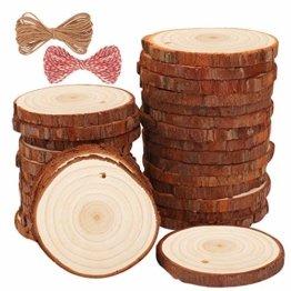 Fuyit Holzscheiben 30 Stücke Holz Log Scheiben 6-7cm mit Loch Unvollendete Holzkreise für DIY Handwerk Holz-Scheiben Hochzeit Mittelstücke Weihnach - 1