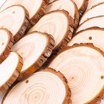 Fuyit Holzscheiben 30 Stücke Holz Log Scheiben 6-7cm mit Loch Unvollendete Holzkreise für DIY Handwerk Holz-Scheiben Hochzeit Mittelstücke Weihnach - 5