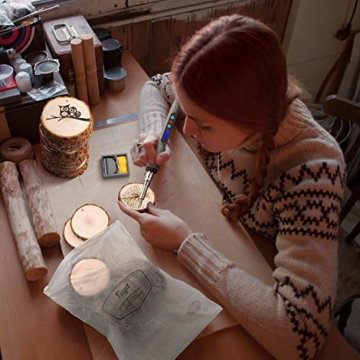 Fuyit Holzscheiben 30 Stücke Holz Log Scheiben 6-7cm mit Loch Unvollendete Holzkreise für DIY Handwerk Holz-Scheiben Hochzeit Mittelstücke Weihnach - 6