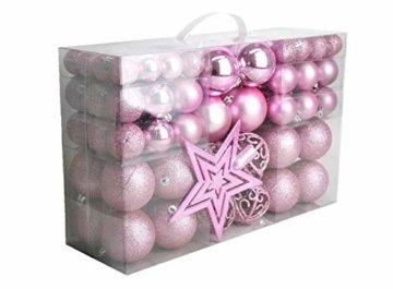 Geschenkestadl 1725S 100 Weihnachtskugeln und Baumspitze Stern (Rosa) - 1