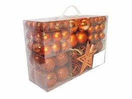 Geschenkestadl 1728S 100 Weihnachtskugeln und Baumspitze Stern (Orange) - 1