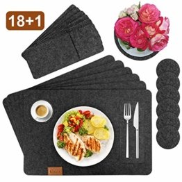 Gifort Platzset, Filz Tischset 6er Set mit Glasuntersetzer und Bestecktaschen, Waschbare Tischuntersetzer Platzdeckchen, Abwischbar Untersetzer Filzmatte - 1
