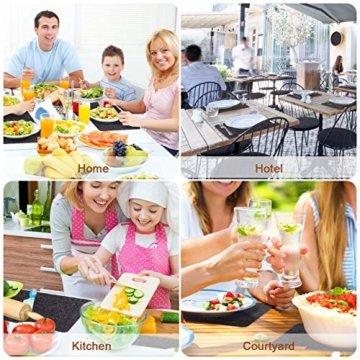 Gifort Platzset, Filz Tischset 6er Set mit Glasuntersetzer und Bestecktaschen, Waschbare Tischuntersetzer Platzdeckchen, Abwischbar Untersetzer Filzmatte - 4