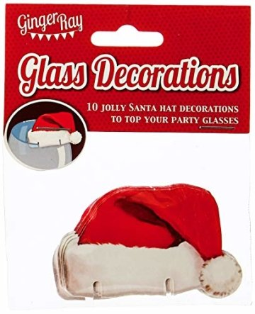 Ginger Ray Lustige Weihnachts-Glasdekorationen/Karte mit Weihnachtsmannmützen (10 Stück), rot - 2