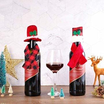 Gitua 10 Satz Weinflasche Abdeckung, Schöne Weihnachten Flaschen Hut und Schal Set für Weihnachtsfeier Tischdeko & Geschenkverpackung - 2