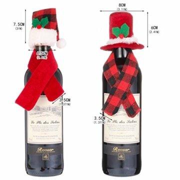 Gitua 10 Satz Weinflasche Abdeckung, Schöne Weihnachten Flaschen Hut und Schal Set für Weihnachtsfeier Tischdeko & Geschenkverpackung - 3