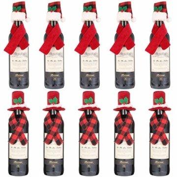 Gitua 10 Satz Weinflasche Abdeckung, Schöne Weihnachten Flaschen Hut und Schal Set für Weihnachtsfeier Tischdeko & Geschenkverpackung - 1