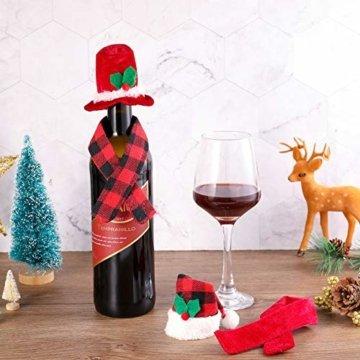 Gitua 10 Satz Weinflasche Abdeckung, Schöne Weihnachten Flaschen Hut und Schal Set für Weihnachtsfeier Tischdeko & Geschenkverpackung - 5