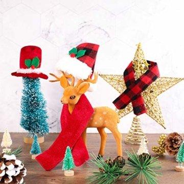 Gitua 10 Satz Weinflasche Abdeckung, Schöne Weihnachten Flaschen Hut und Schal Set für Weihnachtsfeier Tischdeko & Geschenkverpackung - 6