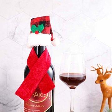 Gitua 10 Satz Weinflasche Abdeckung, Schöne Weihnachten Flaschen Hut und Schal Set für Weihnachtsfeier Tischdeko & Geschenkverpackung - 7