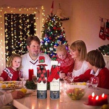 Gitua 10 Satz Weinflasche Abdeckung, Schöne Weihnachten Flaschen Hut und Schal Set für Weihnachtsfeier Tischdeko & Geschenkverpackung - 8