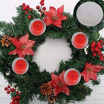 GoMaihe Kerzenhalter Adventskranz 4 Stück, Kerzenteller für Adventskranz Metall, Kerzenpick mit Dorn 8cm Adventskerzenhalter, Kerzenstecker für Advent Weihnachts Tisch Deko Hochzeit, Silber, MEHRWEG - 3