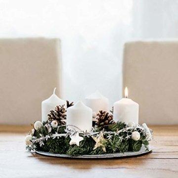 GoMaihe Kerzenhalter Adventskranz 4 Stück, Kerzenteller für Adventskranz Metall, Kerzenpick mit Dorn 8cm Adventskerzenhalter, Kerzenstecker für Advent Weihnachts Tisch Deko Hochzeit, Silber, MEHRWEG - 5