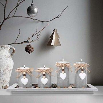 GoMaihe Kerzenständer Teelichthalter 4 Stück, Kerzenleuchter Kerzenhalter Tischdeko Deko Wohnzimmer Schlafzimmer Balkon Badezimmer, Dekoration Weihnachten Weihnachtsdeko Adventskerzenhalter, MEHRWEG - 3