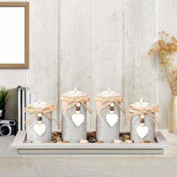 GoMaihe Kerzenständer Teelichthalter 4 Stück, Kerzenleuchter Kerzenhalter Tischdeko Deko Wohnzimmer Schlafzimmer Balkon Badezimmer, Dekoration Weihnachten Weihnachtsdeko Adventskerzenhalter, MEHRWEG - 4