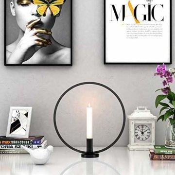 GoMaihe Retro Kerzenhalter 2 Set in Unterschiedlicher Größe, 29/23cm Antik Kerzenständer Eisen Deko Rund Geformt Kerzenleuchter, Kerzen Ständer Tischdeko Hochzeit, Schwarz.MEHRWEG - 3