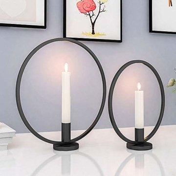 GoMaihe Retro Kerzenhalter 2 Set in Unterschiedlicher Größe, 29/23cm Antik Kerzenständer Eisen Deko Rund Geformt Kerzenleuchter, Kerzen Ständer Tischdeko Hochzeit, Schwarz.MEHRWEG - 1