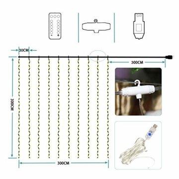 Greatever Lichtervorhang, 300 LEDs Lichterkettenvorhang 3M3M IP65 Wasserfest 8 Modi Lichterkette Warmweiß für Weihnachten Party Schlafzimmer Innen und außen Deko, Licht, Nicht abnehmbar - 2