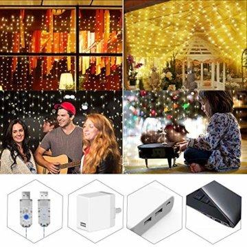 Greatever Lichtervorhang, 300 LEDs Lichterkettenvorhang 3M3M IP65 Wasserfest 8 Modi Lichterkette Warmweiß für Weihnachten Party Schlafzimmer Innen und außen Deko, Licht, Nicht abnehmbar - 3