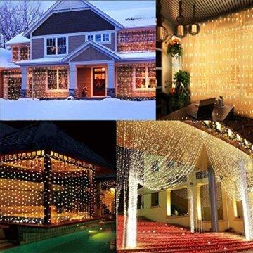 Greatever Lichtervorhang, 300 LEDs Lichterkettenvorhang 3M3M IP65 Wasserfest 8 Modi Lichterkette Warmweiß für Weihnachten Party Schlafzimmer Innen und außen Deko, Licht, Nicht abnehmbar - 4