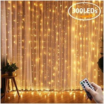 Greatever Lichtervorhang, 300 LEDs Lichterkettenvorhang 3M3M IP65 Wasserfest 8 Modi Lichterkette Warmweiß für Weihnachten Party Schlafzimmer Innen und außen Deko, Licht, Nicht abnehmbar - 1