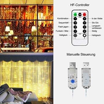 Greatever Lichtervorhang, 300 LEDs Lichterkettenvorhang 3M3M IP65 Wasserfest 8 Modi Lichterkette Warmweiß für Weihnachten Party Schlafzimmer Innen und außen Deko, Licht, Nicht abnehmbar - 6