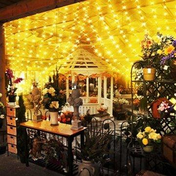 Greatever Lichtervorhang, 300 LEDs Lichterkettenvorhang 3M3M IP65 Wasserfest 8 Modi Lichterkette Warmweiß für Weihnachten Party Schlafzimmer Innen und außen Deko, Licht, Nicht abnehmbar - 7