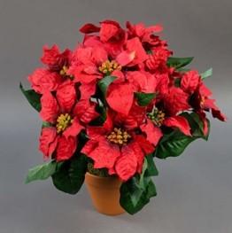 Großer Weihnachtsstern im Topf 38cm rot PF künstliche Poinsettie Blume Pflanze Kunstblumen Kunstblumen - 1