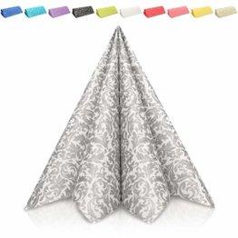 GRUBly Servietten Silber | Stoffähnlich [50 Stück] | Hochwertige Silberne Servietten, Tischdekoration für Weihnachten, Hochzeit, Geburtstag, Feiern | 40x40cm | AIRLAID QUALITÄT - 1