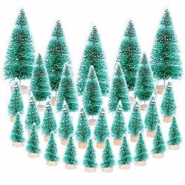 (H: 4.5cm+6.5cm+8.5cm+12.5cm) 30 Stück Mini Weihnachtsbaum Künstlich Klein Mini Tannenbaum Christbaum mit Ständer Weihnachtsdeko Weihnachten Tischdeko Winterdeko Geschenk Decoration oder Modellbau - 1