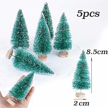 (H: 4.5cm+6.5cm+8.5cm+12.5cm) 30 Stück Mini Weihnachtsbaum Künstlich Klein Mini Tannenbaum Christbaum mit Ständer Weihnachtsdeko Weihnachten Tischdeko Winterdeko Geschenk Decoration oder Modellbau - 7