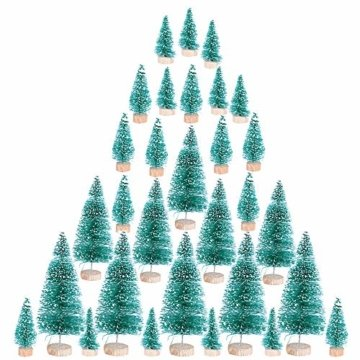 (H: 4.5cm+6.5cm+8.5cm+12.5cm) 30 Stück Mini Weihnachtsbaum Künstlich Klein Mini Tannenbaum Christbaum mit Ständer Weihnachtsdeko Weihnachten Tischdeko Winterdeko Geschenk Decoration oder Modellbau - 9