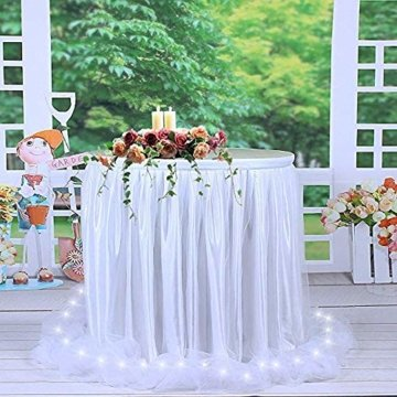 HBBMAGIC LED Tischrock Weiß Tüll Tischdeko Party deko Für Babyparty mädchen, Hochzeit, Geburtstag, Weihnachten, Candy bar zubehör(Weiß,183cm*76cm) - 2