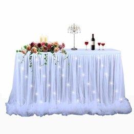 HBBMAGIC LED Tischrock Weiß Tüll Tischdeko Party deko Für Babyparty mädchen, Hochzeit, Geburtstag, Weihnachten, Candy bar zubehör(Weiß,183cm*76cm) - 1