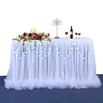HBBMAGIC LED Tischrock Weiß Tüll Tischdeko Party deko Für Babyparty mädchen, Hochzeit, Geburtstag, Weihnachten, Candy bar zubehör(Weiß,183cm*76cm) - 4