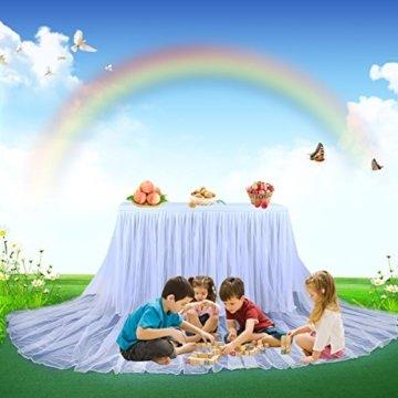 HBBMAGIC LED Tischrock Weiß Tüll Tischdeko Party deko Für Babyparty mädchen, Hochzeit, Geburtstag, Weihnachten, Candy bar zubehör(Weiß,183cm*76cm) - 6