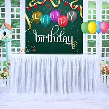 HBBMAGIC LED Tischrock Weiß Tüll Tischdeko Party deko Für Babyparty mädchen, Hochzeit, Geburtstag, Weihnachten, Candy bar zubehör(Weiß,183cm*76cm) - 7