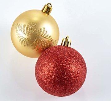 HEITMANN DECO 25er Set Christbaumkugeln 5,5 cm - Weihnachtsbaum Deko zum Aufhängen - Weihnachtskugeln Kunststoff - Rot Gold Glänzend - 3
