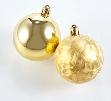 HEITMANN DECO 25er Set Christbaumkugeln 5,5 cm - Weihnachtsbaum Deko zum Aufhängen - Weihnachtskugeln Kunststoff - Rot Gold Glänzend - 4