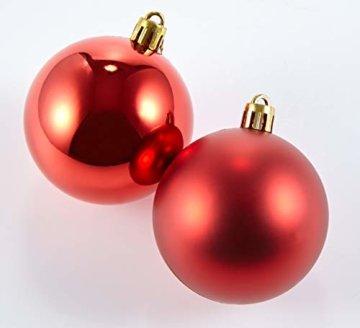 HEITMANN DECO 25er Set Christbaumkugeln 5,5 cm - Weihnachtsbaum Deko zum Aufhängen - Weihnachtskugeln Kunststoff - Rot Gold Glänzend - 5