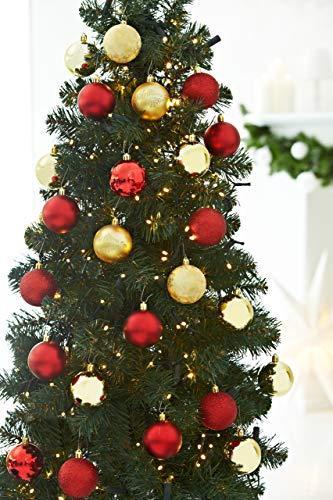 HEITMANN DECO 25er Set Christbaumkugeln 5,5 cm - Weihnachtsbaum Deko zum Aufhängen - Weihnachtskugeln Kunststoff - Rot Gold Glänzend - 6