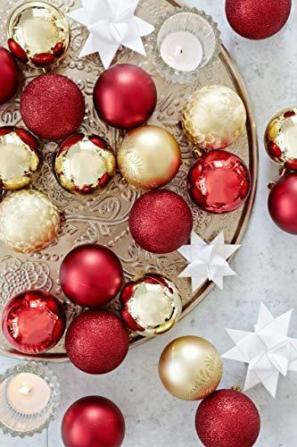 HEITMANN DECO 25er Set Christbaumkugeln 5,5 cm - Weihnachtsbaum Deko zum Aufhängen - Weihnachtskugeln Kunststoff - Rot Gold Glänzend - 7