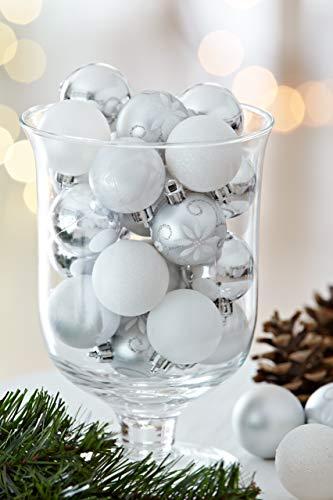 HEITMANN DECO 49er Set Christbaumkugeln 4 cm - Weihnachtsschmuck Weiß Silber Glänzend zum Aufhängen - Kunststoffkugeln Weihnachtsbaum - 2